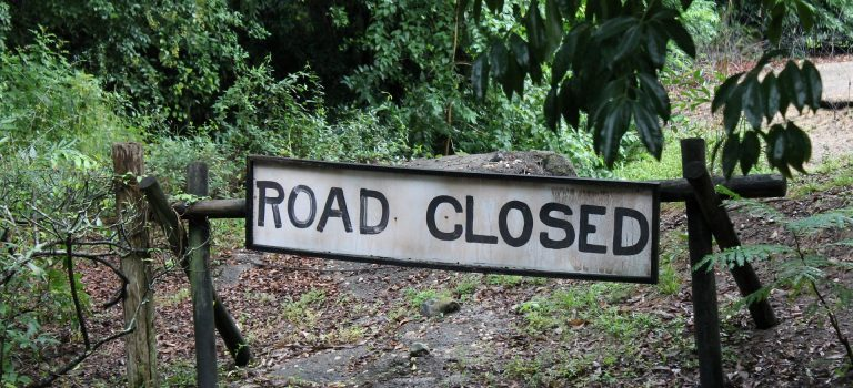 communication skills depicted by Road closed sign